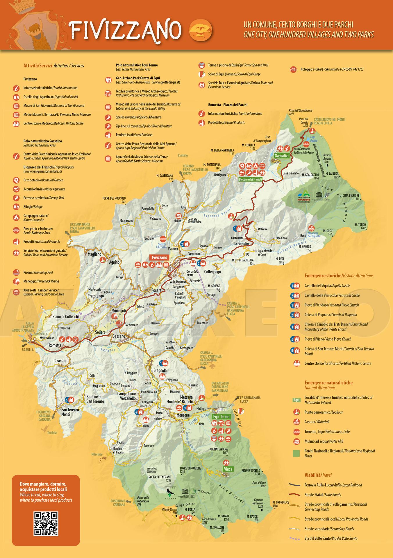 La carta turistica del Comune di Fivizzano