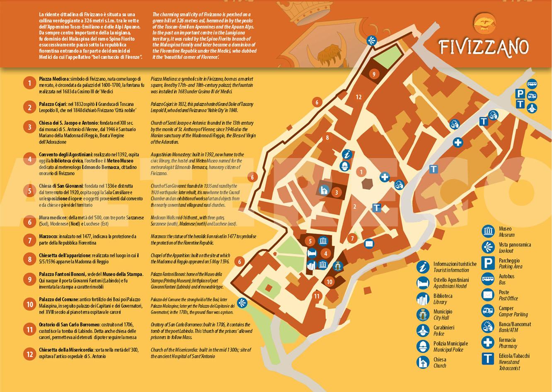 La mappa del centro storico di Fivizzano
